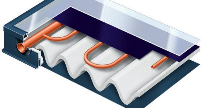 PRESJEK Vitosol 200 - FM 1 Po obodu savijen aluminijski okvir s letvicom za prihvat stakla 2 Stabilan pokrov od specijalnog stakla visoke prozirnosti 3 Po obodu savijen aluminijski okvir 4 Selektivni absorber s promjenjivim slojem ThermProtect 5 Visokoučinkovita toplinska izolacija